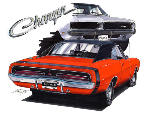 Maddmax muscle car art 1969 dodge charger this print features an orange dodge charger sciox Image collections